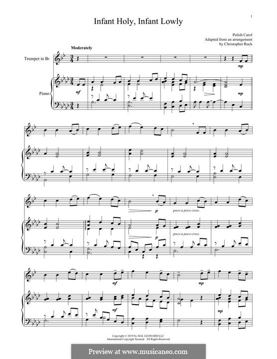Infant Holy, Infant Lowly: For trumpet and piano by folklore