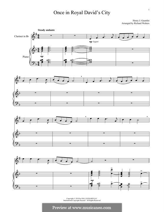 Once In Royal David's City: For trumpet and piano by folklore