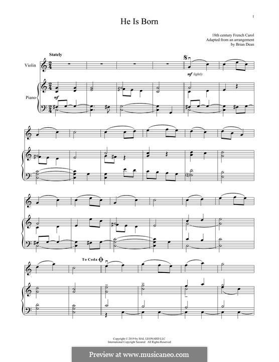 He Is Born, the Holy Child (Il est ne, le divin enfant): Für Violine und Klavier by folklore