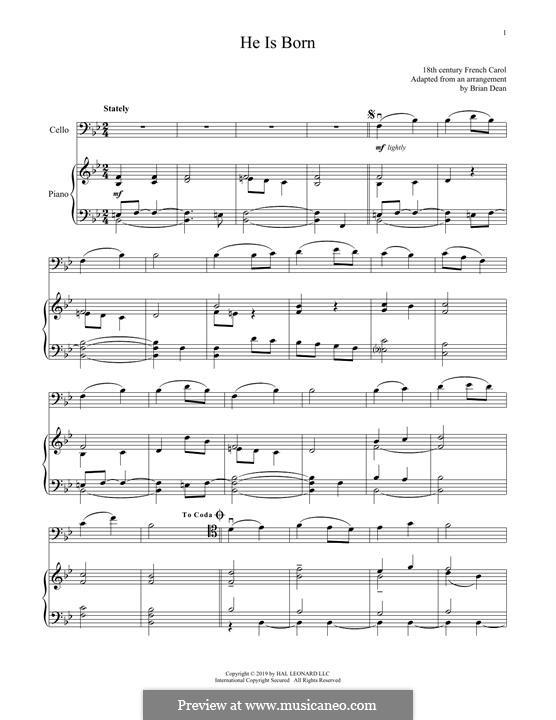 He Is Born, the Holy Child (Il est ne, le divin enfant): Für Cello und Klavier by folklore