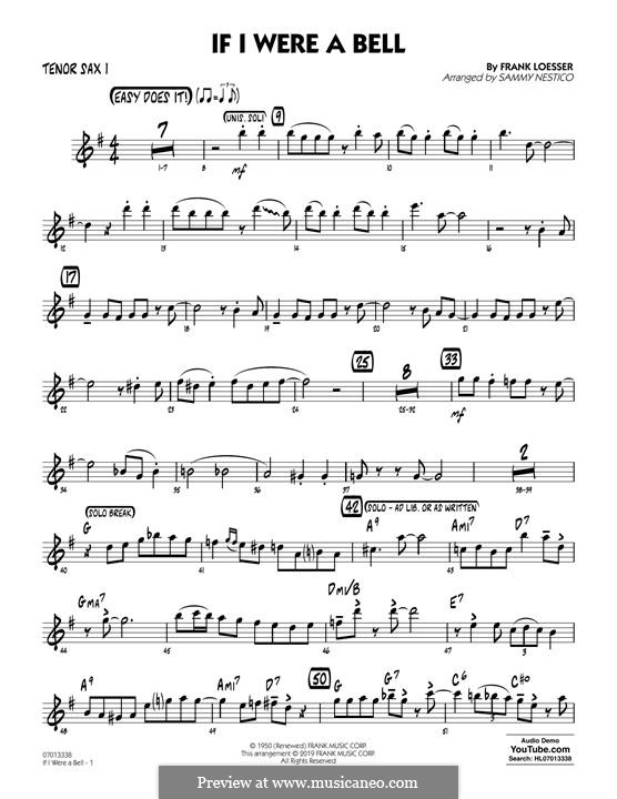 If I Were a Bell (arr. Sammy Nestico): Tenor Sax 1 part by Frank Loesser