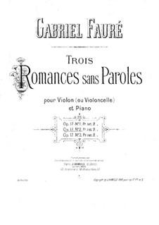 Romanzen ohne Worte, Op.17: Für Violine (oder Cello) und Klavier – Cellostimme by Gabriel Fauré
