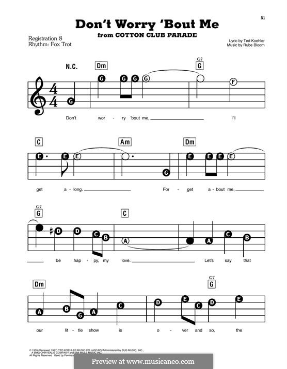 Don't Worry 'Bout Me (Frank Sinatra): Für Klavier, leicht by Rube Bloom