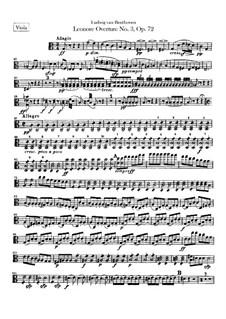 Leonore. Ouvertüre No.3, Op.72b: Violastimme by Ludwig van Beethoven