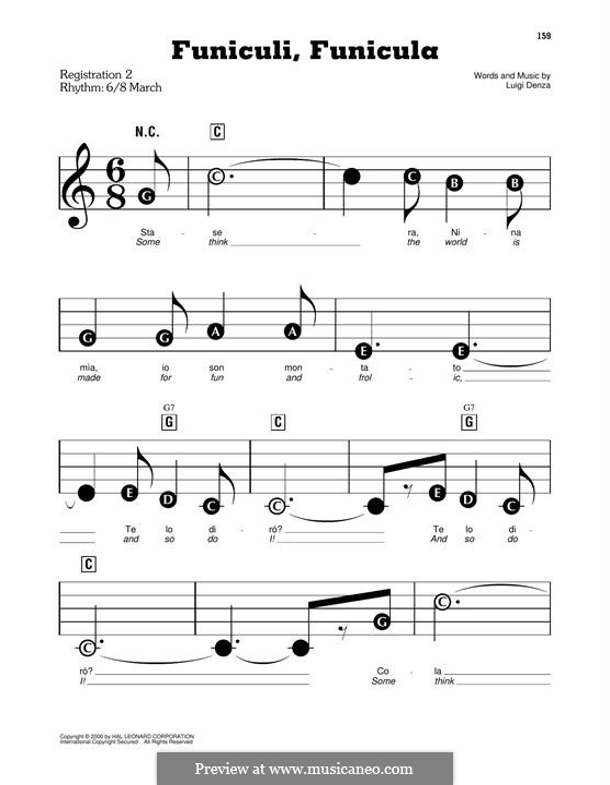 Funiculi, Funicula: Für Klavier by Luigi Denza