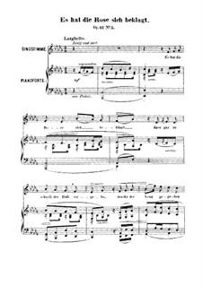 Sechs Lieder, Op.42: Nr.5 Es hat die Rose sich beklagt by Robert Franz