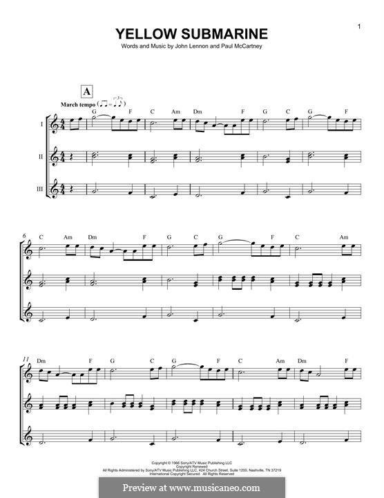 Yellow Submarine (The Beatles): Für Ukulele by John Lennon, Paul McCartney