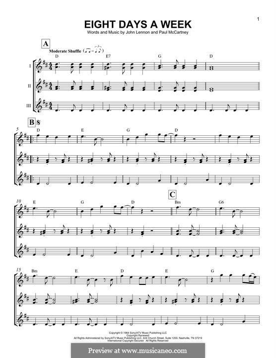 Eight Days a Week (The Beatles): Für Ukulele by John Lennon, Paul McCartney