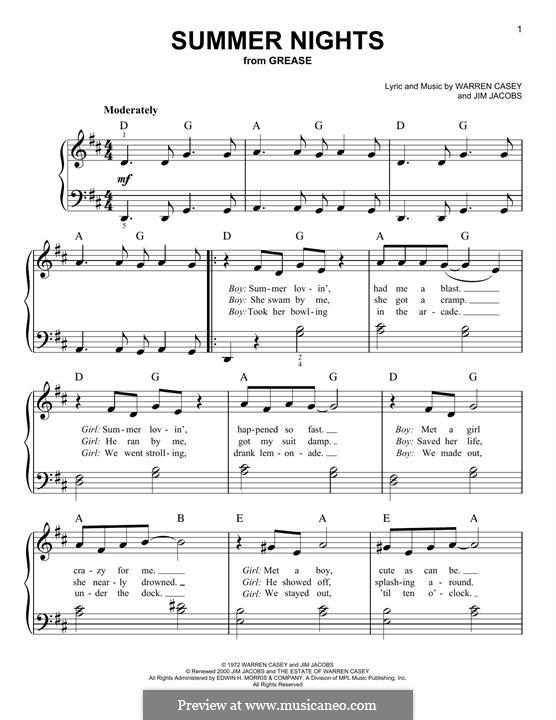 Summer Nights (from Grease): Für Klavier, leicht by Jim Jacobs, Warren Casey
