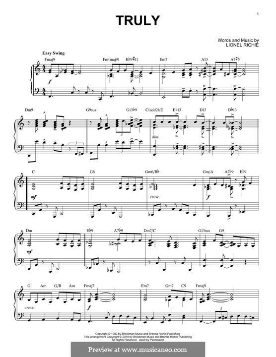 Truly: Für Klavier (jazz version) by Lionel Richie