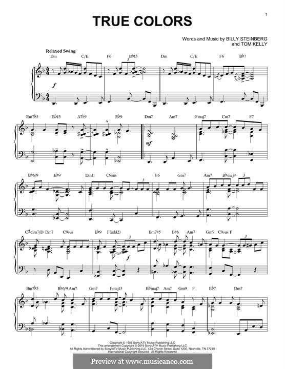 True Colors: Für Klavier (jazz version) by Billy Steinberg, Tom Kelly