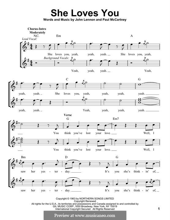 She Loves You (The Beatles): Melodische Linie by John Lennon, Paul McCartney
