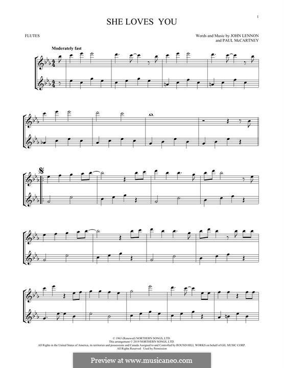 She Loves You (The Beatles): Für zwei Flöten by John Lennon, Paul McCartney