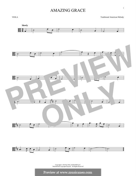 Amazing Grace (Printable Scores): For viola by folklore