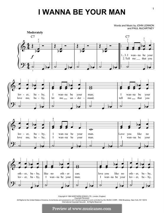 I Wanna Be Your Man (The Beatles): Für Klavier, leicht by John Lennon, Paul McCartney
