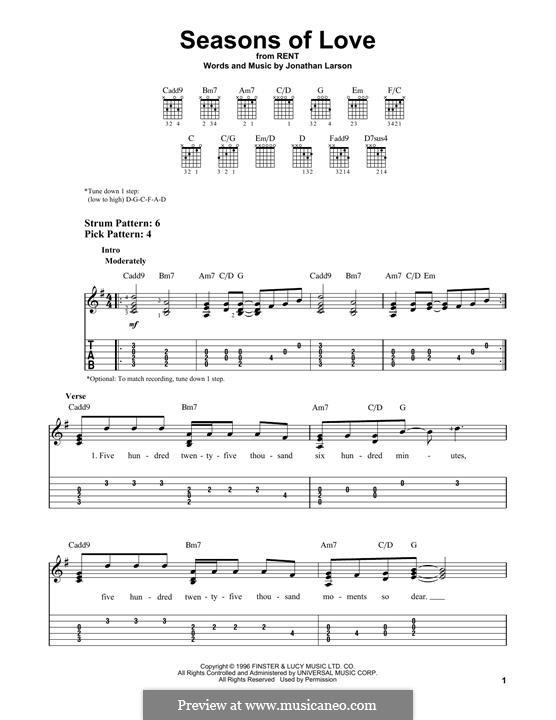 Seasons of Love (from Rent): Für Gitarre by Jonathan Larson