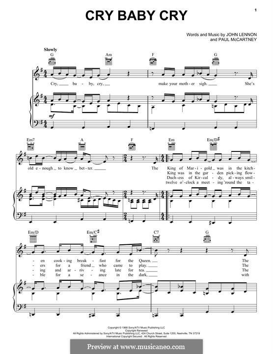 Cry Baby Cry (The Beatles): Für Stimme und Klavier (oder Gitarre) by John Lennon, Paul McCartney