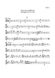 Sinfonie Nr.84 in Es-Dur 'In nomine Domini', Hob.I/84: Oboenstimmen I-II by Joseph Haydn