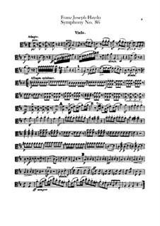 Sinfonie Nr.86 in D-Dur, Hob.I/86: Violastimme by Joseph Haydn