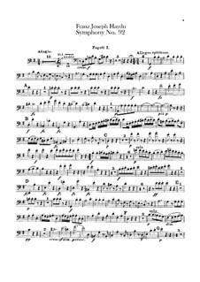 Sinfonie Nr.92 in G-Dur 'Oxford', Hob.I/92: Fagottenstimmen I-II by Joseph Haydn