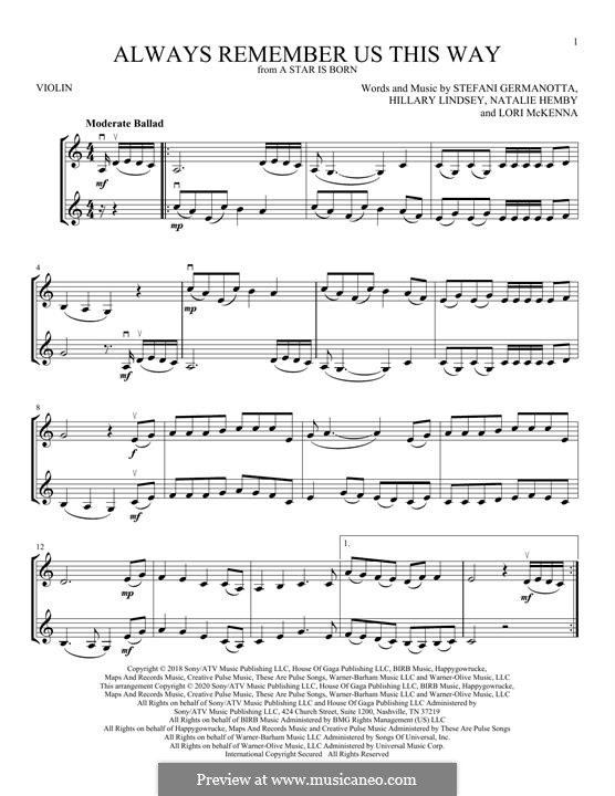 Always Remember Us This Way (from A Star is Born): Für Violine by Hillary Lindsey, Lori McKenna, Natalie Hemby, Stefani Germanotta