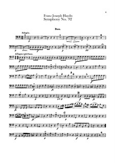 Sinfonie Nr.92 in G-Dur 'Oxford', Hob.I/92: Kontrabass-Stimme by Joseph Haydn