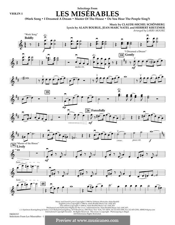 Selections (arr. Larry Moore): Violin 1 part by Claude-Michel Schönberg