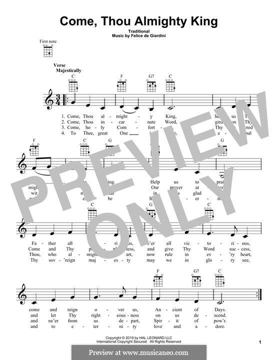 Come, Thou Almighty King: Für Ukulele by Felice Giardini
