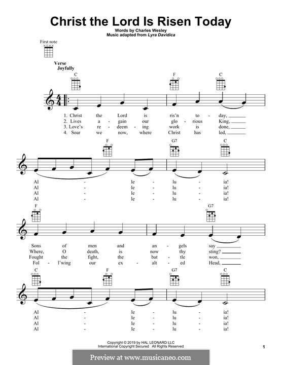 Christ the Lord Is Risen Today: Für Ukulele by folklore