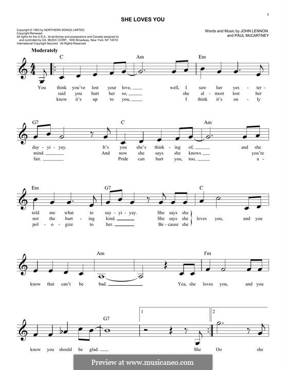 She Loves You (The Beatles): Für Keyboard by John Lennon, Paul McCartney