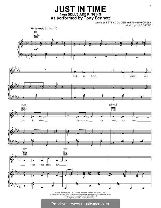 Just in Time (Frank Sinatra): Für Stimme und Klavier (Tony Bennett) by Jule Styne