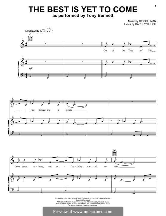 The Best is Yet to Come: Für Stimme und Klavier (Tony Bennett) by Cy Coleman