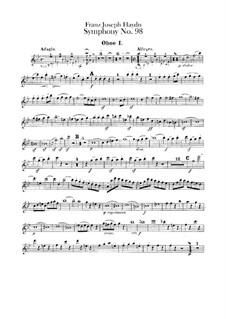 Sinfonie Nr.98 in B-Dur, Hob.I/98: Oboenstimmen by Joseph Haydn