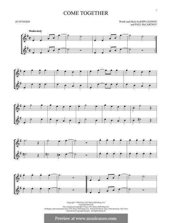 Come Together (The Beatles): Für Altsaxophon by John Lennon, Paul McCartney