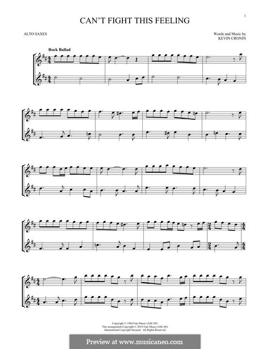 Can't Fight This Feeling: For two alto saxophones by Kevin Cronin