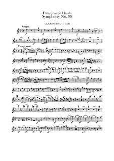 Sinfonie Nr.99 in Es-Dur, Hob.I/99: Klarinettenstimmen I-II by Joseph Haydn