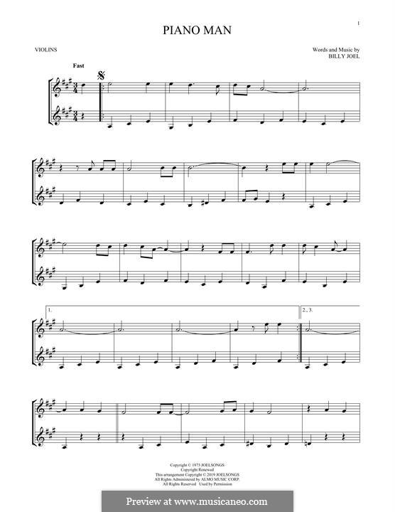 Piano Man: Für Violine by Billy Joel