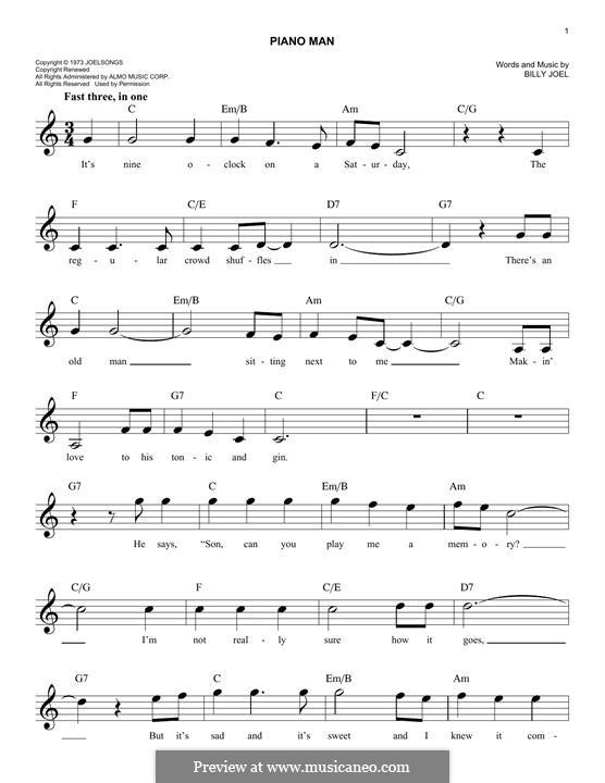 Piano Man: Für Keyboard by Billy Joel