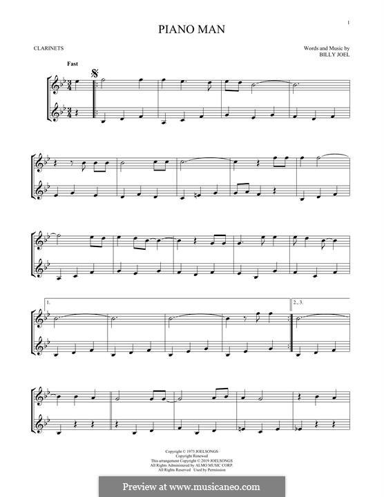 Piano Man: Für Klarinette by Billy Joel