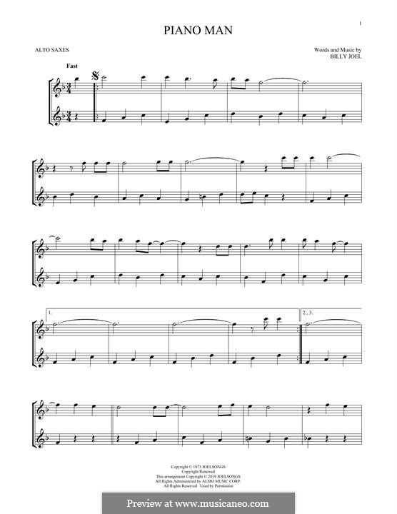 Piano Man: Für Altsaxophon by Billy Joel