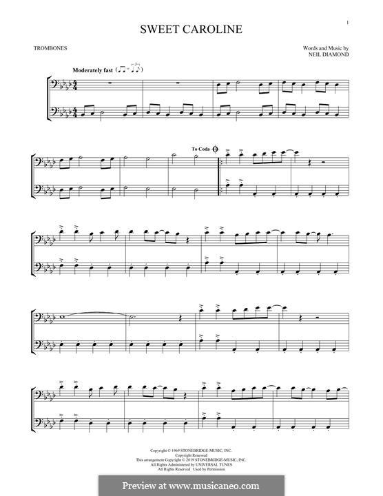 Sweet Caroline: For trombone by Neil Diamond