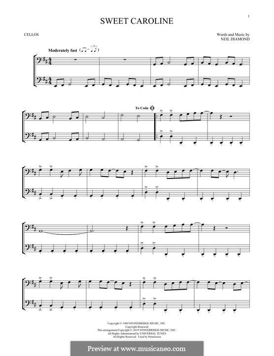 Sweet Caroline: Für Cello by Neil Diamond