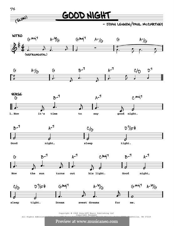 Good Night (The Beatles): Melody line (jazz version) by John Lennon, Paul McCartney
