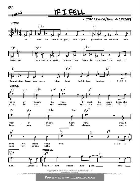 If I Fell (The Beatles): Melody line (jazz version) by John Lennon, Paul McCartney