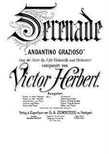 Suite für Cello und Orchester, Op.3: Serenade, für Klavier by Victor Herbert