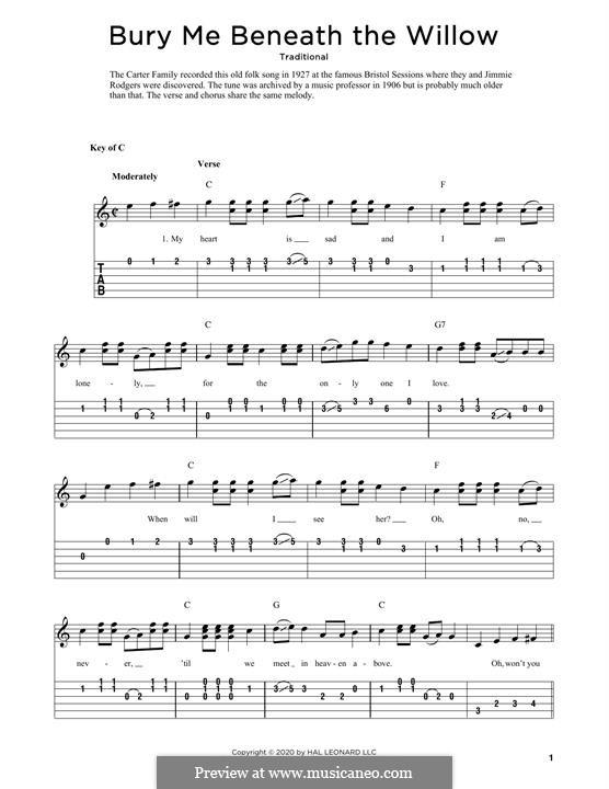 Bury Me Beneath the Willow: Für Gitarre by folklore