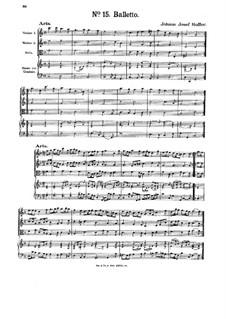 Balletto für zwei Violinen, Bratsche und Basso Continuo: Balletto für zwei Violinen, Bratsche und Basso Continuo by Johann Josef Hoffer