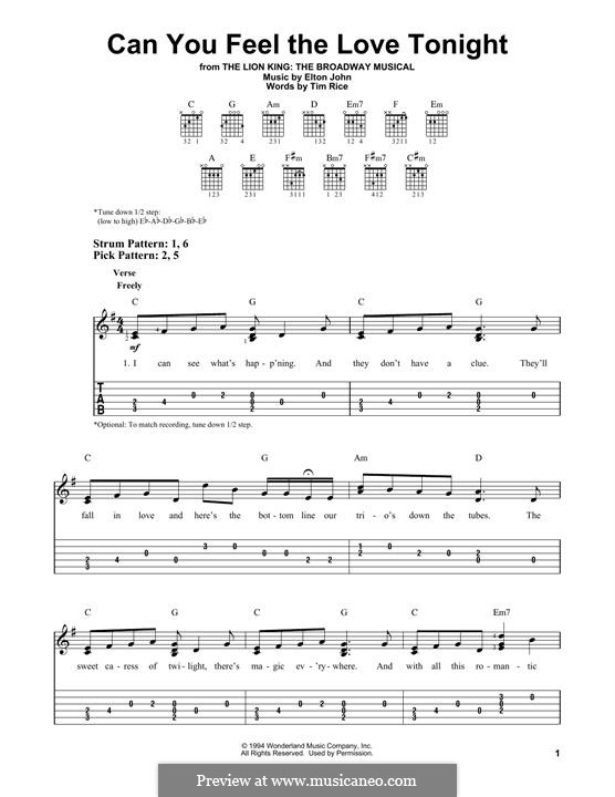 Can You Feel the Love Tonight (from The Lion King): Für Gitarre by Elton John