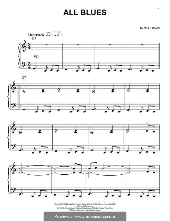 All Blues: Für Klavier, leicht by Miles Davis