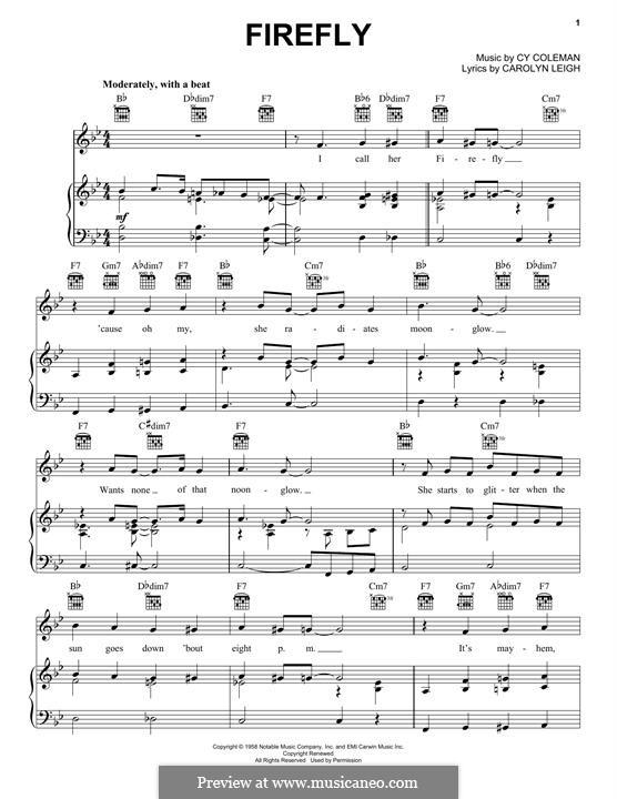 Firefly (Tony Bennett): Für Stimme und Klavier (oder Gitarre) by Cy Coleman